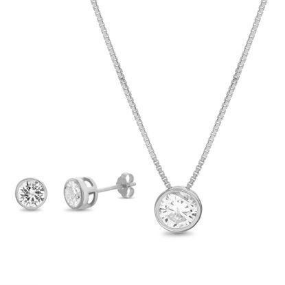 Imagen de Sterling Silver Bezel Cubic Zirconia Pendant Cable Chain Necklace and Post Earring Set