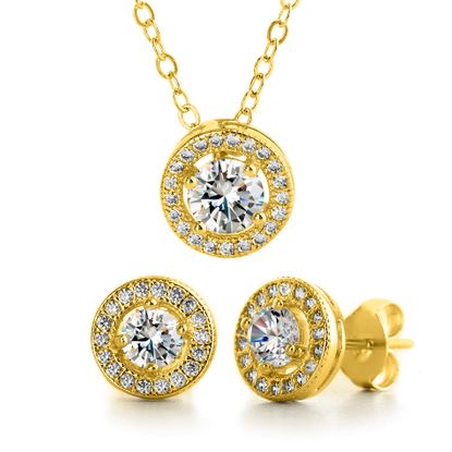 Imagen de Sterling Silver Cubic Zirconia 4 Prong Round Halo Necklace and Earring Set