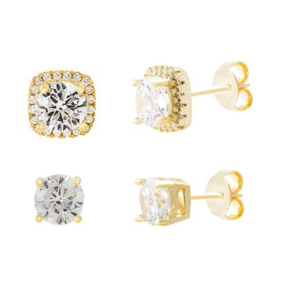 Imagen de Gold Plated Sterling Silver Cubic Zirconia Center & Squared Border Duo Post Earring Set