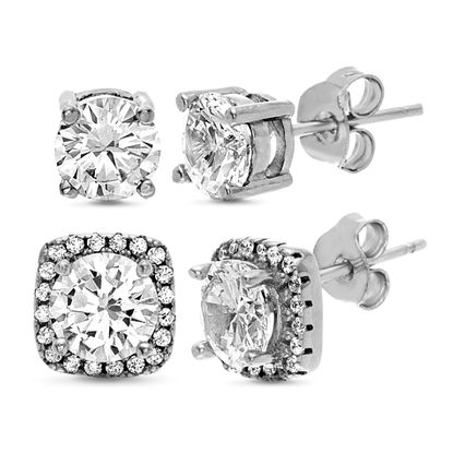 Picture of Sterling Silver Cubic Zirconia Duo Rounded Square Halo and 4 Prong Stud Earrings Set