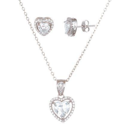 Imagen de Sterling Silver Cubic Zirconia Halo Heart Earring and Pendant Set