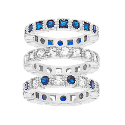 Picture of Sterling Silver Round/Square SPPR/Clear Cubic Zirconia 3 Piece Eternity Band Ring Set Size 7