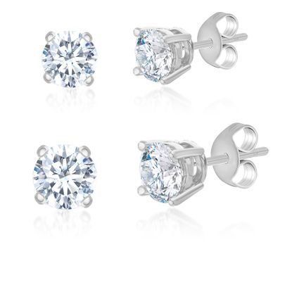 Imagen de Cubic Zirconia 5mm & 7mm Stud Earring 2-Pair Set in Sterling Silver