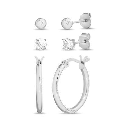 Imagen de Cubic Zirconia Hoop & Stud Earring 3-Pair Set in Sterling Silver