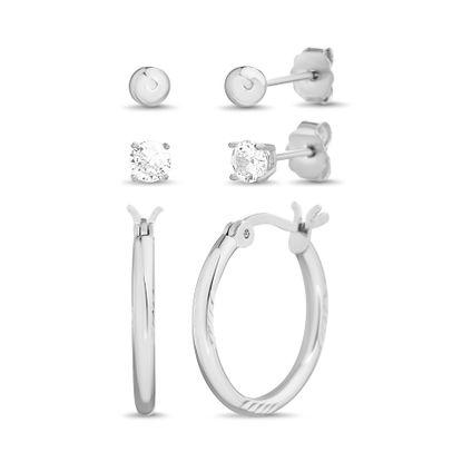 Imagen de Cubic Zirconia Hoop & Stud Earring 3-Pair Set in Sterling Silver