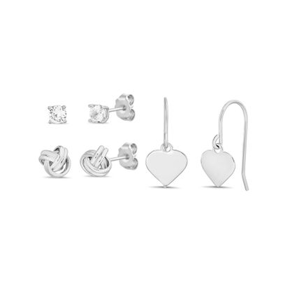 Imagen de Cubic Zirconia 3-Pair Earring Set in Sterling Silver