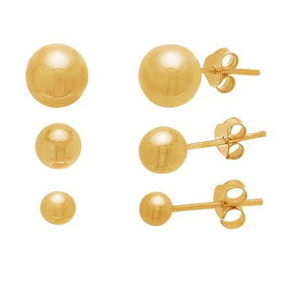 Imagen de Ball Trio Earring Set in Gold over Sterling Silver