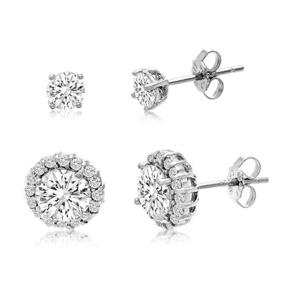 Imagen de Cubic Zirconia 2pc Stud Earring Set in Sterling Silver