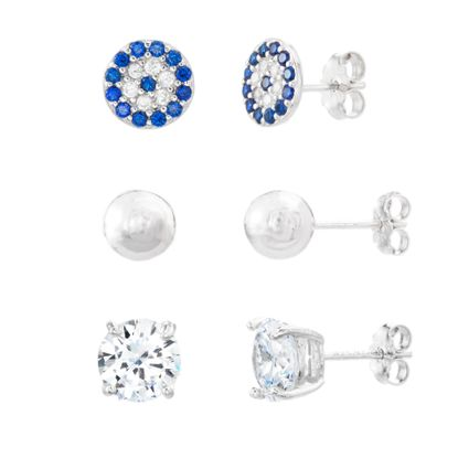 Imagen de Blue/Clear Cubic Zirconia Evil Eye/Ball/Stud 3 Piece Earring Set in Sterling Silver