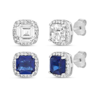 Imagen de Sterling Silver Square Halo Clear/Royal Blue Cubic Zirconia 2 Piece 8mm Post Earring Set