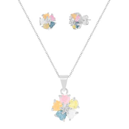 Imagen de Sterling Silver Cubic Zirconia Heart and Flower Earring and Pendant Set