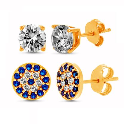 Imagen de Sterling Silver 2 Piece Cubic Zirconia Stud Evil Eye Post Earring Set
