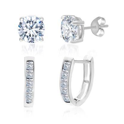 Imagen de Sterling Silver Cubic Zirconia Stud and Huggie Duo Earrings