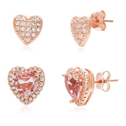 Picture of Sterling Silver Cubic Zirconia 2-Pair Heart Shape Earrings