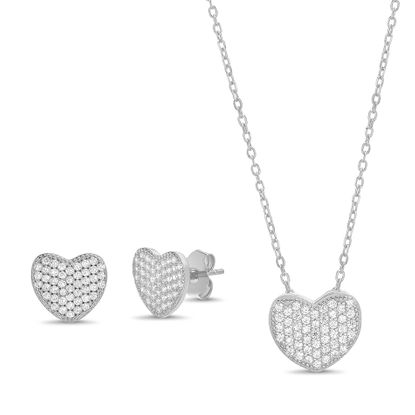 Imagen de Sterling Silver Cubic Zirconia Pave Heart Pendant and Earring Set