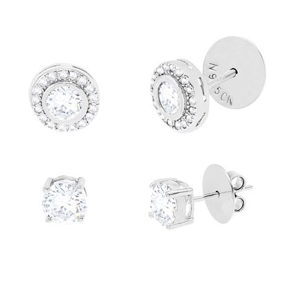 Imagen de Cubic Zirconia Round Halo and 4-Prong Stud Earring 2-Pair Set in Sterling Silver