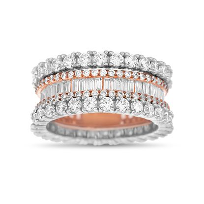 Imagen de Two-Tone Sterling Silver Round/Baguette Cubic Zirconia Eternity Band Ring Size 7