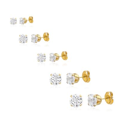 Imagen de Sterling Silver Cubic Zirconia 4 Prong Different Sizes Stud Earring Sets