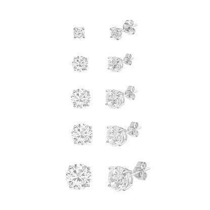 Imagen de Sterling Silver Cubic Zirconia 5 Pairs Post Earring Set