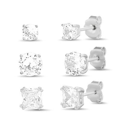 Imagen de Sterling Silver Cubic Zirconia Round/Square Stud Earring Set