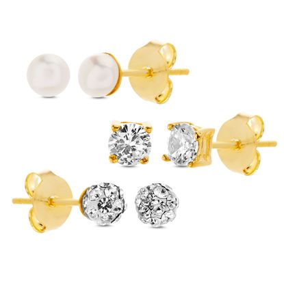 Imagen de Simulated Pearl/Cubic Zirconia/Faceted Crystal 3 Piece Kids Earring Set in Gold over Sterling Silver