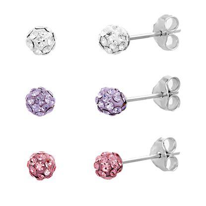 Imagen de Sterling Silver Clear/Purple/Red Cubic Zirconia 3 Piece Ball Post Earring Set