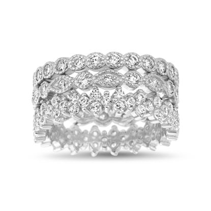 Imagen de Sterling Silver Cubic Zirconia Stackable Ring Set Size 7