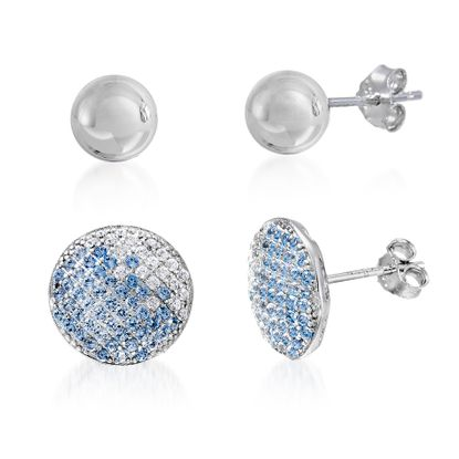 Imagen de Sterling Silver Cubic Zirconia Duo Clear and Light Blue Round Disc and Ball Post Earring Set