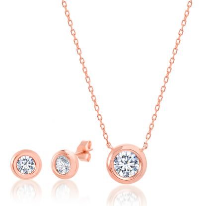 Imagen de Sterling Silver Cubic Zirconia Station Disc 16 Cable Chain Necklace and Earring Set
