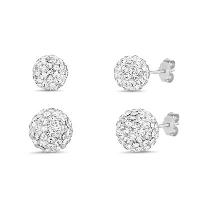 Imagen de Crystal Fireball Ball Stud Earring 2-Pair Set in Sterling Silver