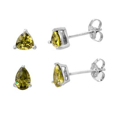 Imagen de Sterling Silver Emerald Teardrop/Triangle Shaped Post 4 Piece Earring Set