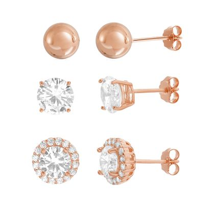 Imagen de Sterling Silver Cubic Zirconia Halo Ball Trio Post Earring Set
