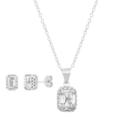 Imagen de Sterling Silver Asscher Cut Cubic Zirconia Rectangle Pendant & Earring Set