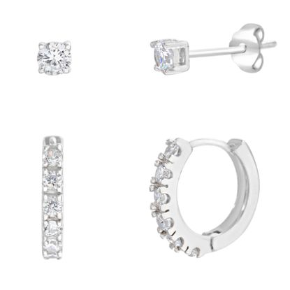 Picture of Cubic Zirconia Stud and Huggie 2 Piece Earring Set in Sterling Silver