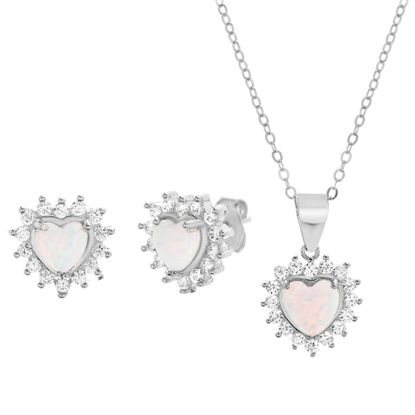 Imagen de Sterling Silver White Opal & CZ Border Heart Pendant Cable Chain Necklace & Post Earring Set