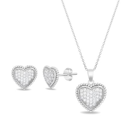 Imagen de Rhodium Plated Sterling Silver Cubic Zirconia Pave Beaded Heart Post Earring/ Cable Chain Necklace Set