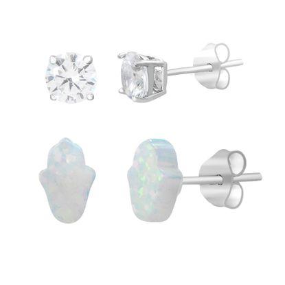 Imagen de Sterling Silver Duo Cubic Zirconia Stud & White Opal Hamsa Hand Post Earring Set