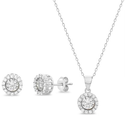 Imagen de Cubic Zirconia Halo Necklace and Earring Set in Sterling Silver