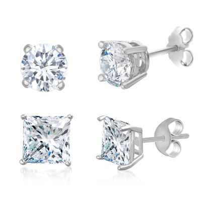 Picture of Sterling Silver Cubic Zirconia 4 Prong Square and Circle Stud Duo Earring Set