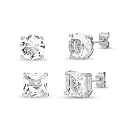 Imagen de Sterling Silver Cubic Zirconia 4 Prong Square/Circle Stud Post Earring Set
