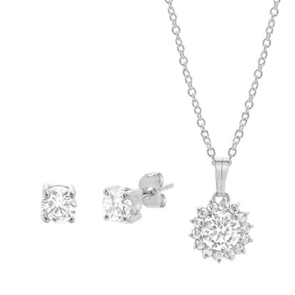 Imagen de Rhodium Plated Brass Cubic Zirconia Flower Design Pendant Cable Chain Necklace & Earring Set