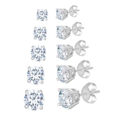Picture of 5 Pair Round Cubic Zirconia Stud Earring Set in Rhodium over Brass