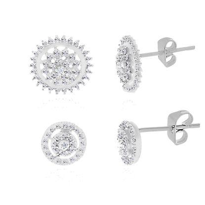Imagen de 2 pair Diamond Accent Stud Earring Set in Rhodium over Brass