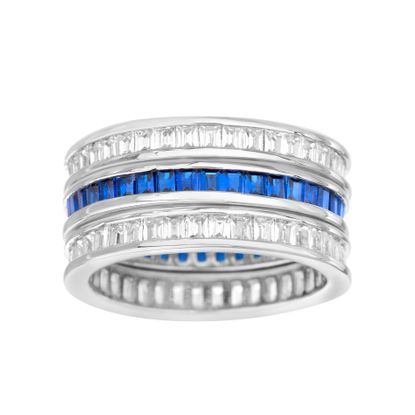 Picture of Baguette Cut Simulated Sapphire and Cubic Zirconia 3pc Eternity Band Ring Set in Rhodium over Sterling Silver