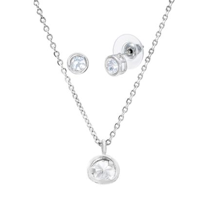 Imagen de Silver-Tone Brass Cubic Zirconia Circle Bezel Necklace and Earring Set