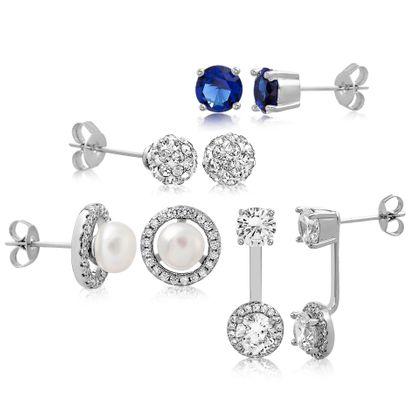 Imagen de Silver-Tone Brass Freshwater Pearl Cubic Zirconia Fireball SPPR Stud Front to Back 4 Piece Earring Set
