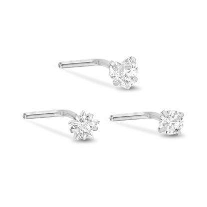 Imagen de Cubic Zirconia Screw Ends Trio Nose Ring Set in Stainless Steel
