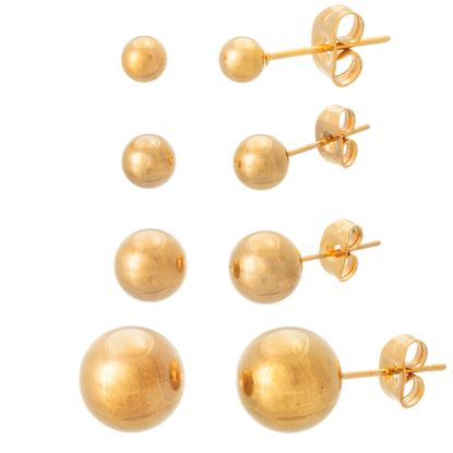Imagen de Gold-Tone Stainless Steel 4mm/6mm/8mm/10mm High Polished Ball Stud Post Earring