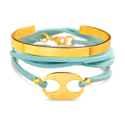 Imagen de Gold-Tone Stainless Steel 2pc Oval Station Turquoise Leather Wrap Bracelet and Polished Open Cuff Bangle Set