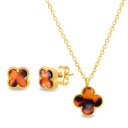 Imagen de STAINLESS STEEL GOLD IP DANGLING TORTOISE SHELL CLOVER ON 14+2 CABLE CHAIN CHOKER NECKLACE & POST EARRING SET